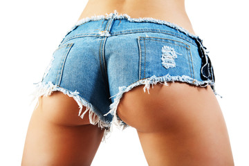 Sexy woman body in jean shorts. The model is back.