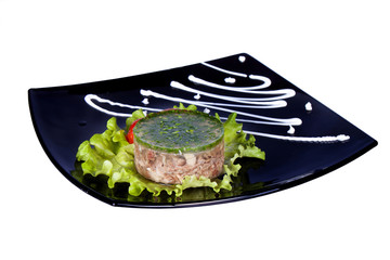 aspic meat jelle over white