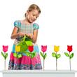 Blumen gießen -  Mädchen gießt Blumen