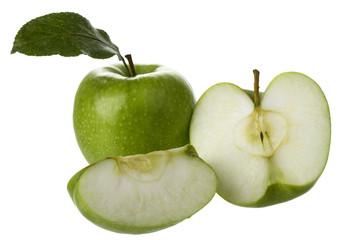 grüne apfelspalten mit granny smith