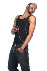 singing man with headphones and turning around
