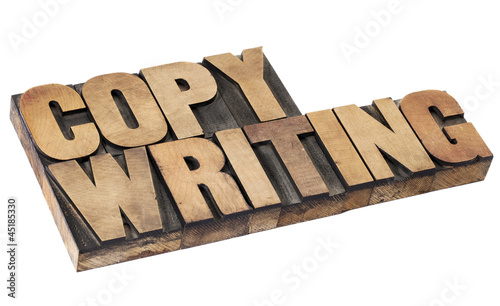 copywriting word in wood type