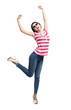 Happy dancing teenager with arms up, isolated on a white
