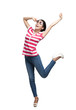 Happy dancing teenager with arms up, isolated