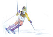 slalom - down hill skier - hand drawing