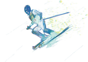down hill skier - hand drawing