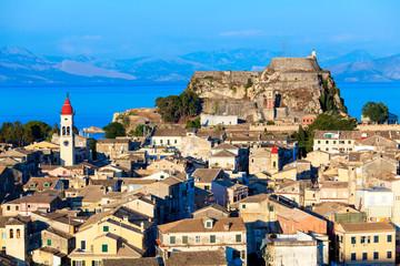 Aerial view from New fortress Kerkyra, Corfu island, Greece