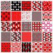 set of red and black celebration patterns