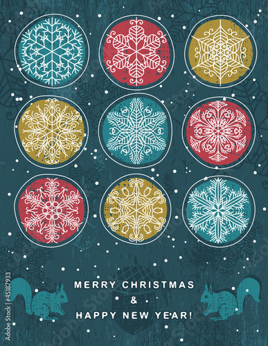 christmas background with snowflakes, vector