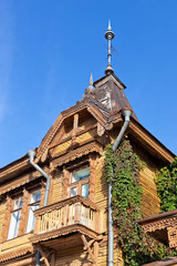 Old wooden house over blue sky
