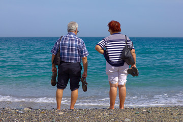 elderly couple on the beach looking at sea