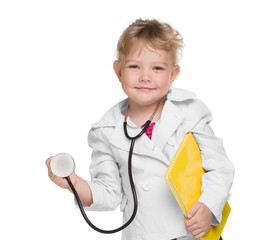 Little girl with stethoscope and book