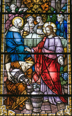 Jesus turning water into wine, stained glass