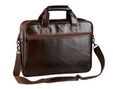Nice and useful briefcase for computer made of genuine leather poster