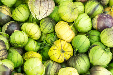 Fresh tomatillos at the market