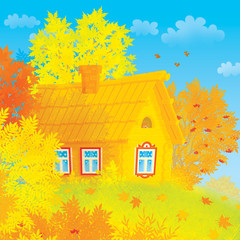 Log rustic house among autumn trees
