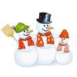 drei fröhliche Schneemänner