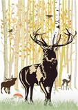 Fototapety Hirsche und Reh im herbstlichen Wald