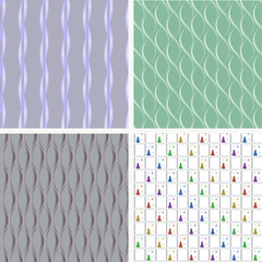 Vector set of four seamless pattern