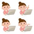 パソコン 女性 表情 セット