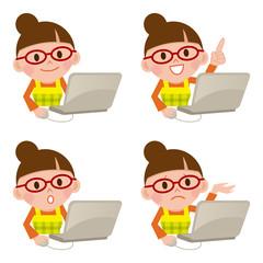 パソコン 主婦 表情 セット