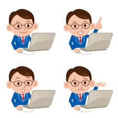 パソコン ビジネスマン 表情 セット