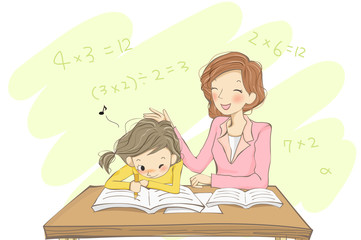 Teacher teaching math to student in classroom