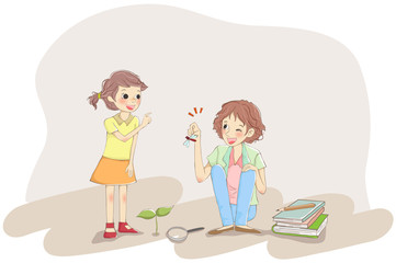 Woman holding a dragonfly and showing to her child