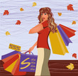 Autumn shopping girl, vector illustration