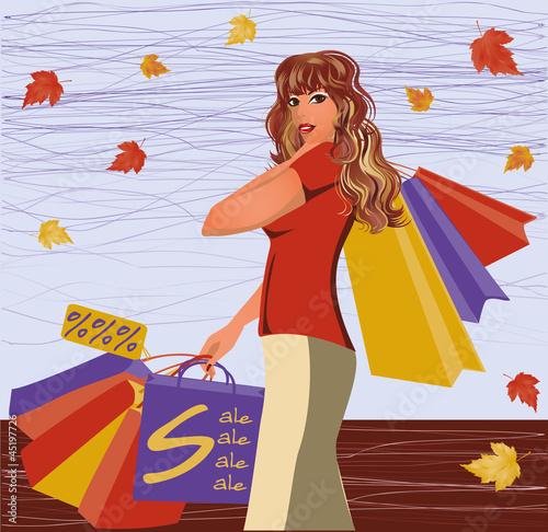 Autumn shopping girl, vector illustration