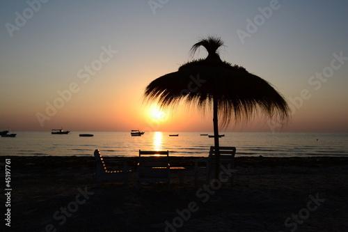 Poster Tunesië coucher du soleil plage