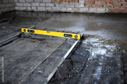 construction of the concrete floor and the level