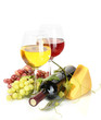 bottle and glasses of wine, cheese and ripe grapes isolated