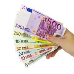Hand hält Euroscheine als Geldfächer