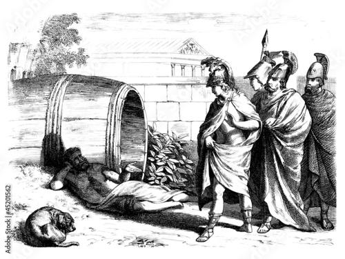 Leinwanddruck Bild Antiquity : Alexander the Great meets Diogenes