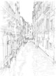 Venice - water channel, old buildings & gondola away. Vector dra