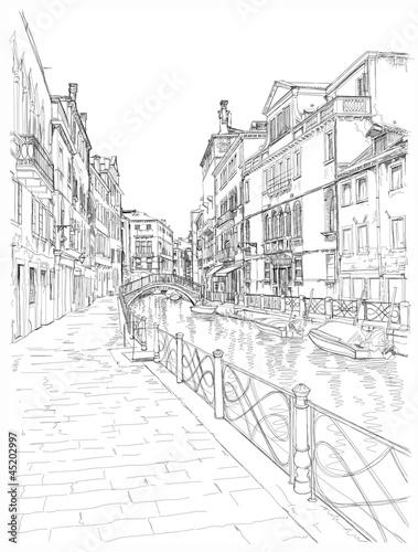 Venice - Fondamenta Rio Marin. Vector drawing © Uladzimir