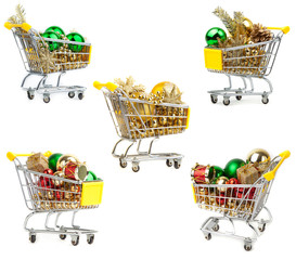 Supermarket trolley with christmas  decoration.