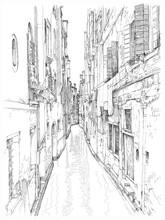 Venise - Calle Frutarol. Dessin vectoriel