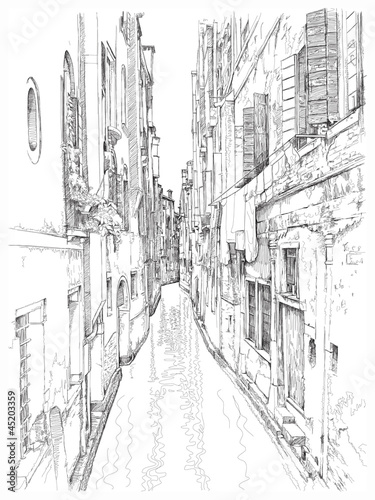 Venice - Calle Frutarol. Vector drawing