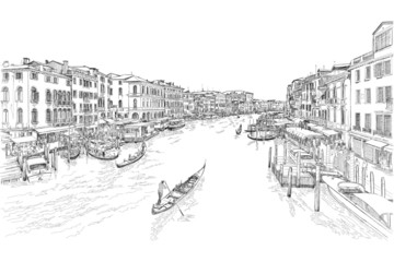 Venice - Grand Canal. The view from the Rialto Bridge. Vector dr