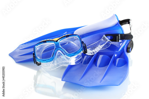 blue flippers and mask isolated on white.