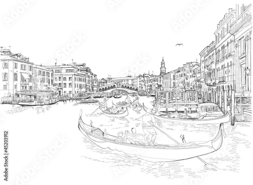 Venice - Grand Canal. View of the Rialto Bridge. Vector drawing