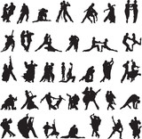 Fototapety set of silhouettes of couples dancing tango