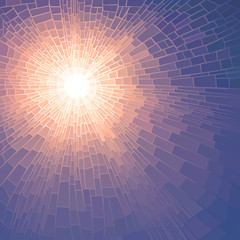 Vector illustration mosaic of sun with rays.