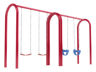 Childrens swings on tubular frame