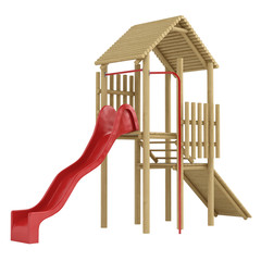 Wooden frame and slide