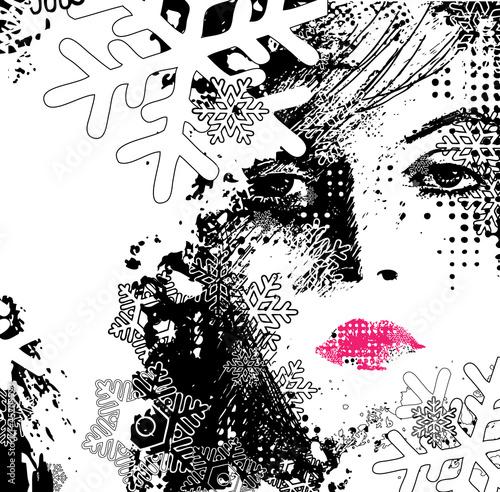 Papiers peints Visage de femme abstract illustration of a winter woman