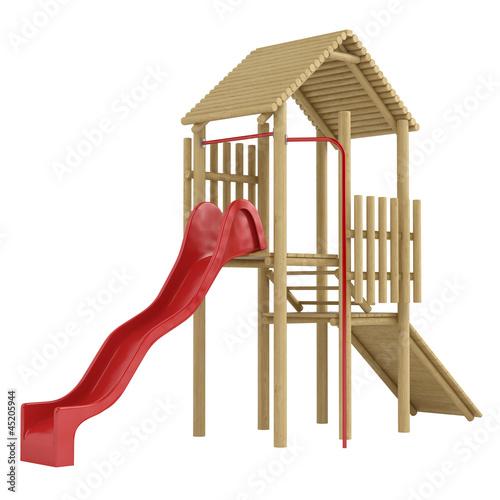 Wooden frame and slide