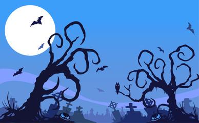 blue cemetary halloween